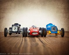 Vintage Toy Race Cars 3 cars lined up, One 8x10 Photographic Print, Boys Room decor, Boys Nursery Prints