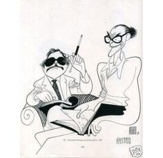 Tennessee Williams and Arthur Miller by Al Hirschfeld