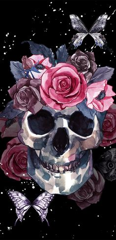 The iPhone X/Xs Wallpaper Thread - Page 70 Skull Wallpaper Iphone, Sugar Skull Wallpaper, Witchy Wallpaper, Butterfly Wallpaper, Aesthetic Iphone Wallpaper, Skull Artwork, Skull Painting, Cute Wallpapers, Wallpaper Backgrounds