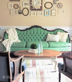 A vintage sofa painted in Antibes Green Chalk Paint® decorative paint by Annie Sloan | By Shades of Blue Interiors | Via The Palette Blog