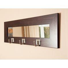 """Brandt Works Last Look Dark Walnut Wall Mirror with Hooks BM006HK 32.5""""x10.5"""""""
