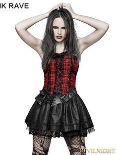 7a5dec964b Black Gothic Punk Plaid Dress - Devilnight.co.uk Gothic Dress