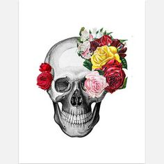 Skull With Roses Print 11x14, $28, now featured on Fab.
