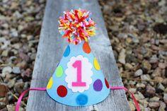 Girls 1st Birthday Party Hat  Girls Rainbow by LaLaLolaShop,