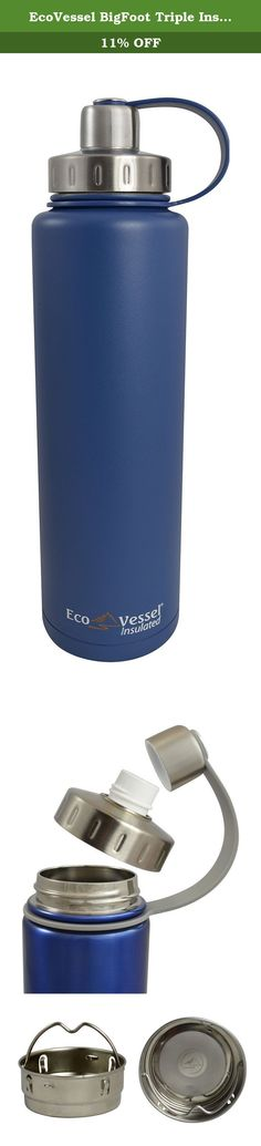 EcoVessel BigFoot Triple Insulated Stainless Steel Water Bottle with Tea, Fruit and Ice Infuser, Hudson Blue, 45 Ounces. You can believe in this BIGFOOT! The perfect balance between size and function, this reusable thermos is ideal for all day outings, sporting events, on the job site or when you want time relaxing instead of refilling. The BIGFOOT Insulated Stainless Steel water bottle holds almost a quart and a half of your favorite drink to quench your big thirst. Featuring our TriMax...