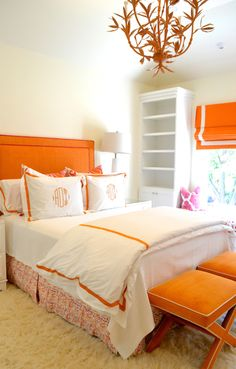 Loving this orange and white bedroom! Serena Chandelier by Stray Dog Designs. #straydogdesigns