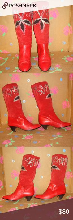 Vintage Phyllis Poland Red Leather Boots 8.5 B Vintage Phyllis Poland Red Leather Boots 8.5 B Unique, high quality, Vintage leather boots are Made in Italy.  Red leather & suede. Embroidered. Vintage. Beautiful!!  They are pre-owned and older so they're not perfect. So feel free to ask questions and check out photos.  (I did my best to take a pictures of problem areas) Some fraying in the embroidery & stain on back of left boot,  scuffs on heels,  light wear in leather. Phyllis Poland Shoes…