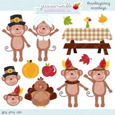 Thanksgiving Monkeys - adorable clipart monkeys are ready for Thanksgiving.  Great for your creative projects.