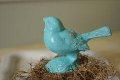 Home Decor Cast Iron Bird  Robins Egg Blue by ByTheSeashoreDecor, $15.00