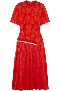 Mother of Pearl - Twilla Embellished Burnout Cotton Midi Dress - Red - UK14