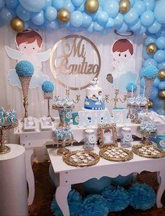 Angel Baby Shower, Cowboy Baby Shower, Baptism Party Decorations, Baby Shower Decorations, Baptism Centerpieces, Aaliyah Birthday, Baby Boy Christening, Boy Decor, Baby Shower Balloons