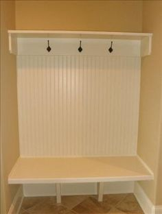 mudroom idea - deep shelf for backpacks.  Could use baskets underneath for storage