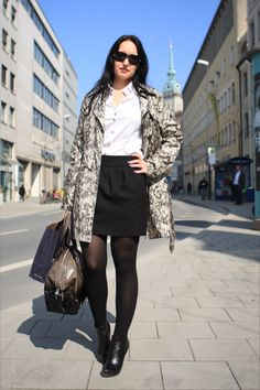 New look of the day: Python coat with tights, miniskirt and white blouse