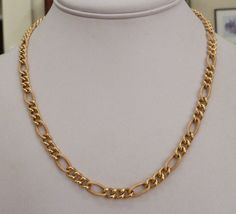 """18"""" LONG ITALY 14K GOLD SATIN SHINY 6 MM 1/4"""" WIDE FIGARO LINK NECKLACE 13.1 GR"""