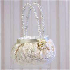 If you need a flower girl basket. this one is gorgeous. it will tie into your theme seemlesly Flower Girl Basket - Floral Garden Mais Wedding Trends, Wedding Designs, Wedding Bouquets, Wedding Flowers, Dream Wedding, Wedding Day, Flower Girl Basket, Rings For Girls, Basket Decoration