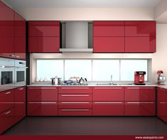 Make a statement! Use Madder Red in the kitchen for a modern and sleek appeal. Combine it with greys, whites and black for a modern look.  #ColourOfTheYear #MadderRed #ColourNext16 #OutdoorDesign  #HomeDesign #HomeDecor #DesignIdeas #COTY #MadderRedDecor