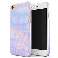 BURGA iPhone 7 Case, Cotton Candy Marble Holographic Iridescent Colorful Unicorn Marble Thin Design Durable Hard Shell Plastic Protective Case For Apple iPhone 7