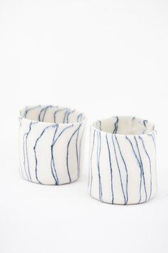 wavy blue stripe mug