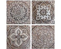 Garden Decorative Tiles Wall Hanging With Mandala Design Circle Ceramic Tile Wall Hanging