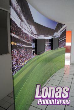 Escenografía PREVIO FUTBOL, con soportes para TV ocultos