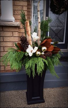 Outdoor Christmas floral arrangement More Outdoor Christmas Planters, Christmas Urns, Christmas Flowers, Outdoor Christmas Decorations, Rustic Christmas, Christmas Holidays, Christmas Wreaths, Christmas Crafts, Holiday Decor