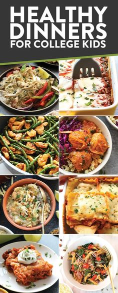 """Healthy Dinner Recipes for College Students  Here are a bunch of dinner recipes for college students in apartments. I specify """"apartment"""" because most of these need an oven or stove to create! Healthy College Meals, College Snacks, Easy Healthy Dinners, Healthy Snacks, Healthy Eating, Clean Eating, Cheap College Meals, Frugal Meals, Easy Snacks"""