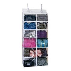 """Effortlessly store jewelry, accessories, and small essentials with this chic organizational necessity.  Product: Purse organizerColor: WhiteFeatures: Hold small and large pursesPreserves and protects your expensive purse wardrobeConveniently hooks over doorSee through compartments for easy identificationDimensions: 54"""" H x 25"""" W x 7.5"""" D"""