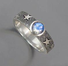 THE MOON silver ring with Moonstone by WingedLion on Etsy, $200.00