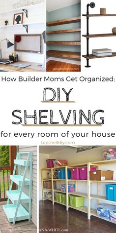 From the bathroom to the garage, there's always room for more shelves. #organization #clutter #closetshelving #closets #shelving