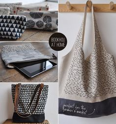 Bookhou at Home bags - love the graphic prints, the solid line at the bottom, and the leather straps.     Shop: http://www.etsy.com/shop/bookhouathome?ref=seller_info (Diy Bag Design)