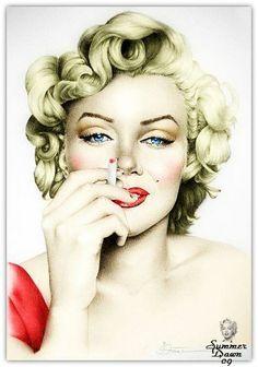 Marilyn Monroe artwork (Artist: Summer Dawn(?) pinned via Dina Morse #MarilynMonroe #Art