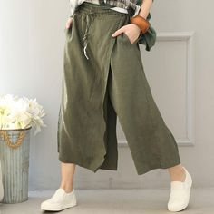 Women Cotton Linen Wide leg pants - Buykud