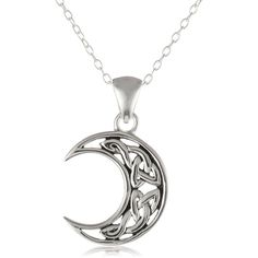 Sterling Silver Celtic Knot Crescent Moon Pendant Necklace with Rolo... ($16) ❤ liked on Polyvore