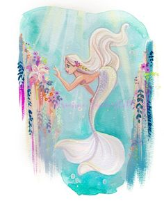 Exploring the Sea Paper Giclee Elegance Velvet Archival Fine Art Paper Print SIZE 8 x 10 in. Signed by me, the artist Watermark not on actual print Packages will ship either First Class or Priority This print will come protected in a photo mailer Disney Kunst, Art Disney, Films Disney, Mermaid Artwork, Mermaid Drawings, Mermaid Paintings, Mermaid Tattoos, Fantasy Kunst, Fantasy Art