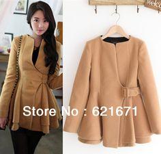 2013 Winter New Women Korean Elegant Fashion Belt Corset Design Draped Peplum Slim Warm Long Woolen Coat/Outerwear Outfit S/M/L $38.99