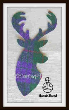 T8.Purple - Tartan - Stag Head -Harris Tweed - Cut Out -Iron - Sew On - Applique #nairncraft