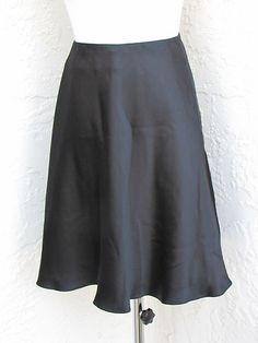 Emanuel UNGARO Sz 6 Black Silk Soft Shiny Satiny Full Fluttery Above Knee Skirt | eBay