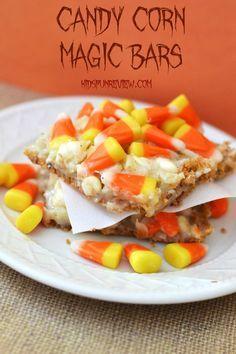 candy corn magic bars recipe #candycorn #fallrecipes #browniesandbars #magicbars