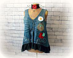 Unique Denim Top Boho Hippie Clothing Recycled Jeans Women