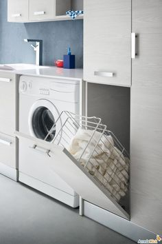 Browse laundry room ideas and decor inspiration. Discover designs for custom laundry rooms and closets, including utility room organization and storage solutions. Laundry Closet, Small Laundry Rooms, Laundry In Bathroom, Washroom, Bathroom Storage, Small Bathroom, Bathroom Organization, White Bathroom, Bathroom Ideas