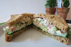 California Chicken Sandwich - A healthy, creamy chicken salad sandwich made with chicken, apples, onions, celery and greek yogurt.