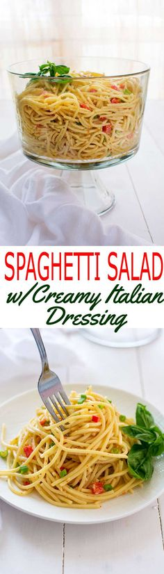 Chilled spaghetti salad with Italian dressing and a little mayonnaise. The zesty-creamy combo is the best of both worlds! #SundaySupper