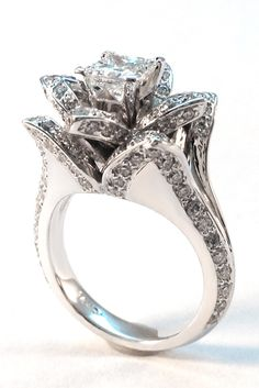 Lotus Princess Diamond Engagement Ring in White Gold. Custom made to fit the Square Diamond of your choice from to carat in the center. I Love Jewelry, Jewelry Box, Jewelery, Jewelry Accessories, Unique Jewelry, Lotus Flower Engagement Ring, Engagement Rings, Unique Rings, Beautiful Rings