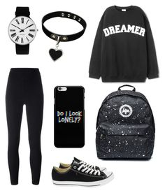 """""""Black ⚫♥"""" by cvetkovicc17 ❤ liked on Polyvore featuring adidas Originals, Converse and Rosendahl"""