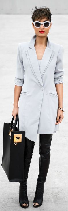 Another way to style the beautiful blazer dress is to wear it with over the knee boots, omg, im in love