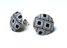 Check out this item in my Etsy shop https://www.etsy.com/listing/226946437/black-and-white-stud-earrings-fabric