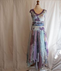 Romantic Tattered Dress Pale Blue Purple Upcycled Woman's Clothing Funky Style Shabby Chic Eco Friendly Style Upcycled Clothig. $144.44, via Etsy.