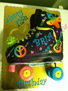 Neon doodle inspired roller skate cake - Cake by K & S Couturecakes