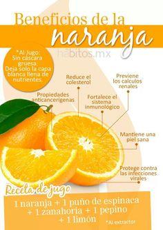 Propiedades de la naranja, a parte de estar riquísima nos aporta muchos beneficios con hábitosmx #salud #health #naranjas