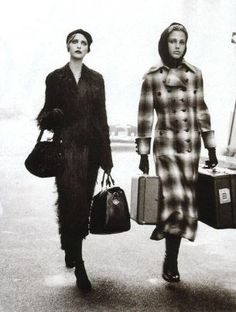 Nadja Auermann & Bridget Hall by Peter Lindbergh - For Harper's Bazaar Magazine US, November 1993